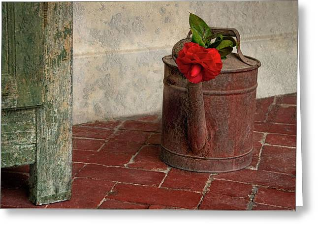 Rust Is Beautiful - Watering Can And Red Flower Greeting Card by Mitch Spence