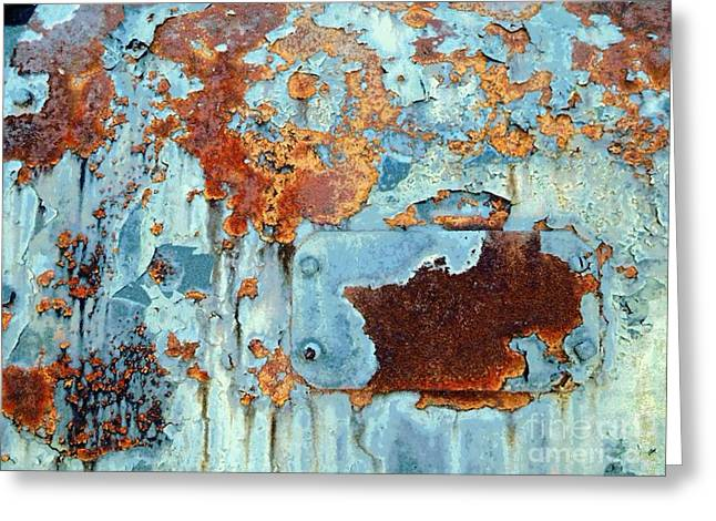 Rust - My Rusted World - Train - Abstract Greeting Card by Janine Riley