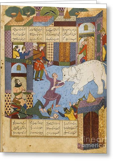 Rustam And The Mad Elephant Greeting Card