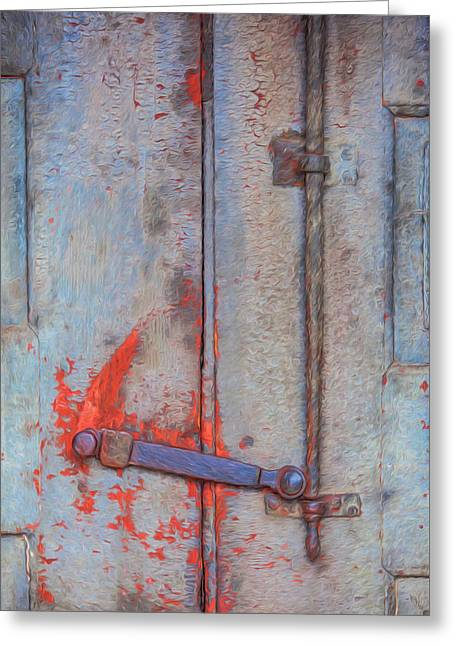 Rusted Iron Door Handle Greeting Card by David Letts