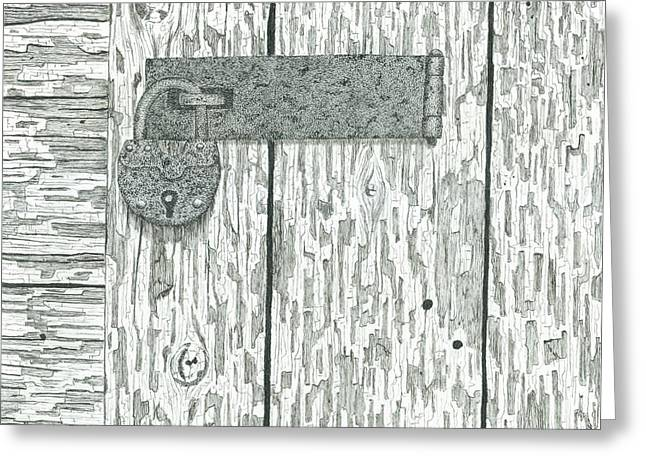 Rusted Lock And Latch Greeting Card by Ed Einboden
