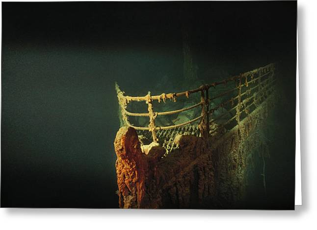 Atlantic Ocean.disaster Greeting Cards - Rusted Prow Of The R.m.s. Titanic Ocean Greeting Card by Emory Kristof