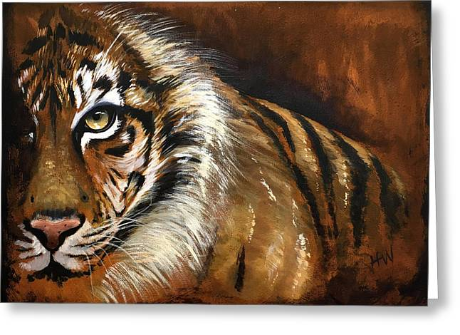 Rusted Tiger Greeting Card by Holly Whiting