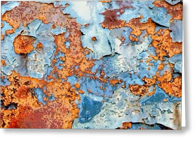 Rusted World In Blue - Across The Seas Greeting Card