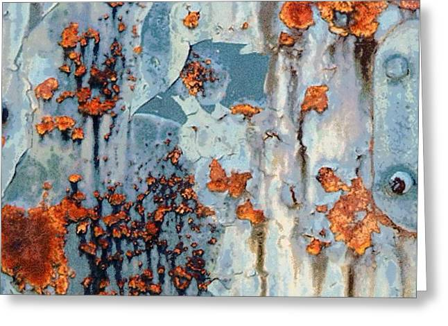 Rusted World - Orange And Blue - Abstract Greeting Card by Janine Riley