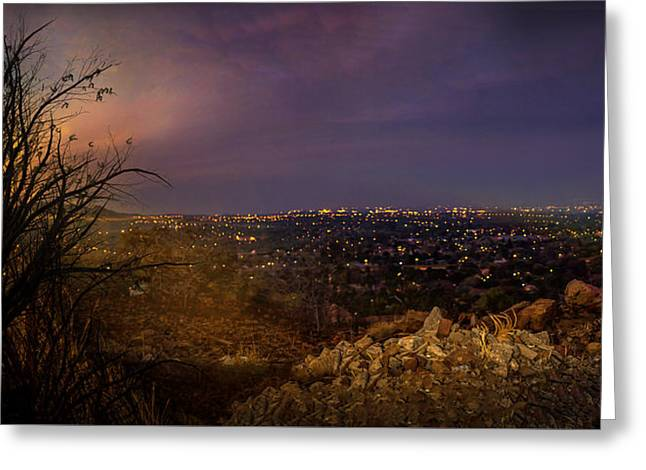 Rustenburg City  At Night Greeting Card by Ronel Broderick