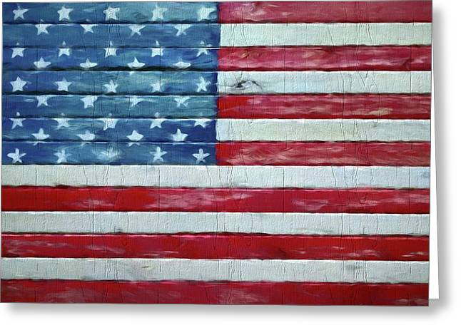 Rustic American Flag On Wood Greeting Card