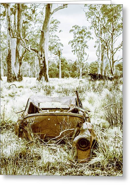 Rustic Australian Car Landscape Greeting Card