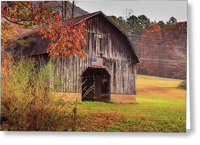 Rustic Barn In Autumn Greeting Card
