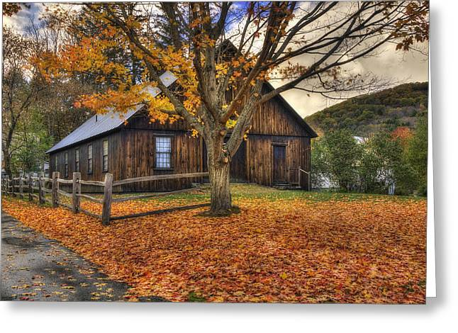 Rustic Barn In Autumn - Woodstock Vermont Greeting Card by Joann Vitali