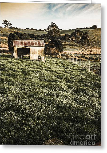 Rustic Barn In Lush Green Farmland Greeting Card by Jorgo Photography - Wall Art Gallery