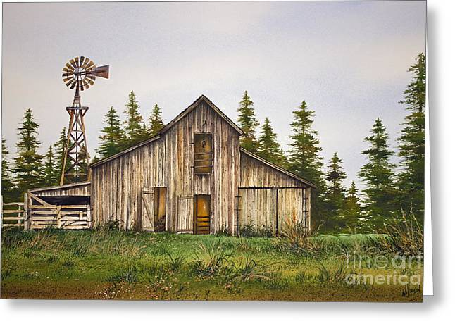 Greeting Card featuring the painting Rustic Barn by James Williamson