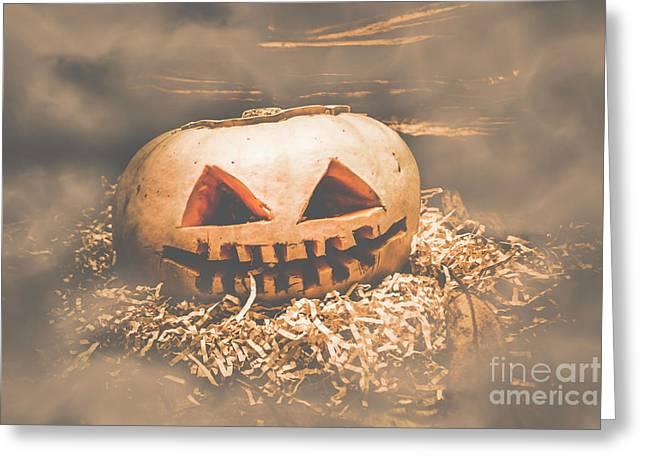 Rustic Barn Pumpkin Head In Horror Fog Greeting Card
