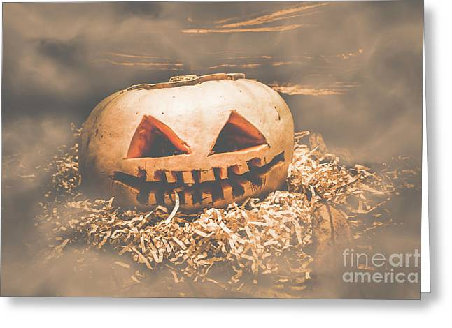 Rustic Barn Pumpkin Head In Horror Fog Greeting Card