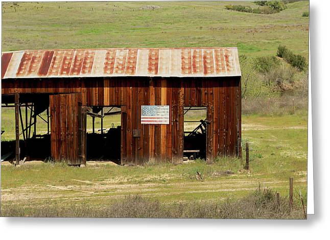 Greeting Card featuring the photograph Rustic Barn With Flag by Art Block Collections