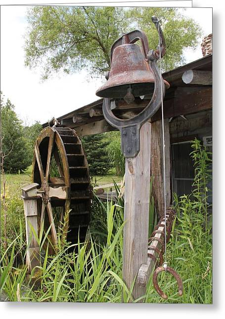 Rustic Bell And Waterwheel Greeting Card