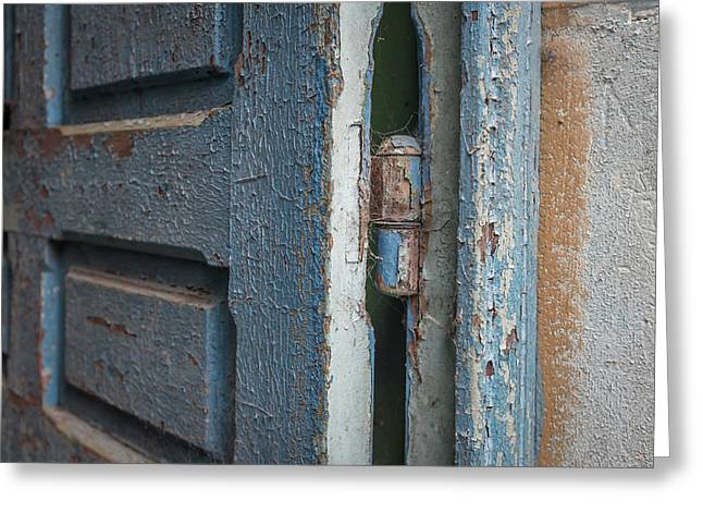 Rustic Blue Door Close Up Greeting Card