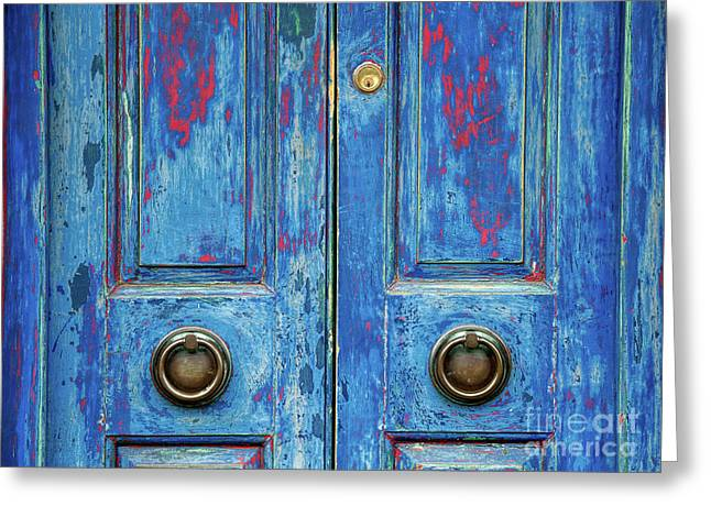 Rustic Blue Doors Greeting Card
