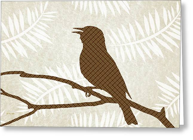 Rustic Brown Bird Silhouette Greeting Card