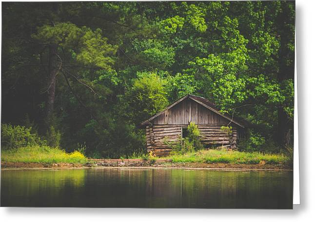 Rustic Cabin By The Pond Greeting Card by Shelby Young