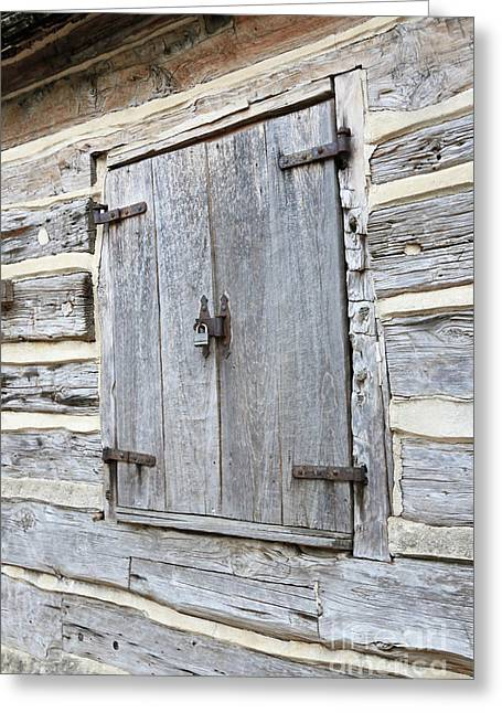 Rustic Cabin Window Greeting Card by Carol Groenen