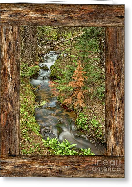 Rustic Cabin Window Forest Creek View  Greeting Card