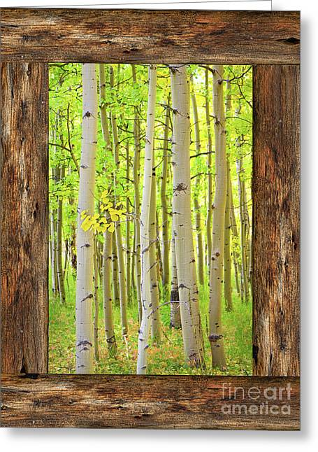 Rustic Cabin Window Into The Woods Portrait View  Greeting Card