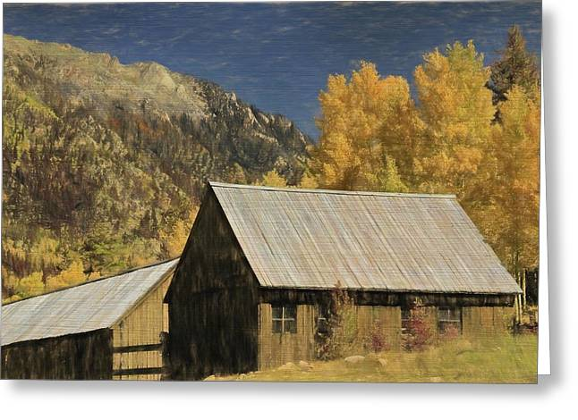 Rustic Colorado Cabin In Autumn Greeting Card by Dan Sproul