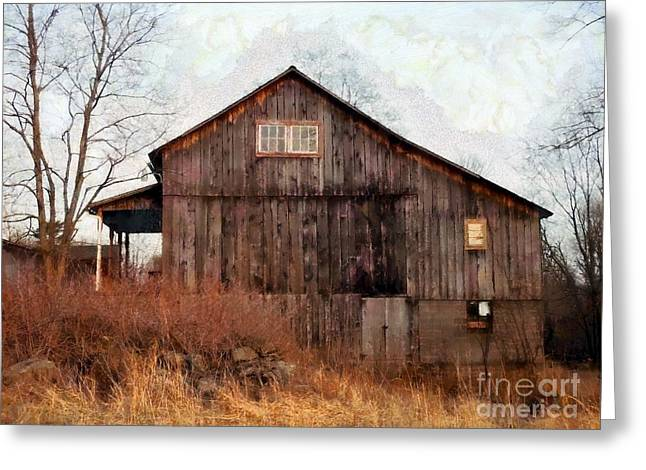 Rustic Country Barn - Long November Greeting Card by Janine Riley
