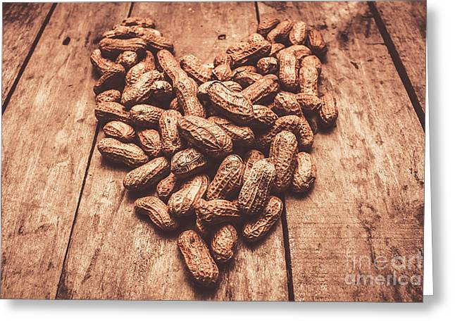 Rustic Country Peanut Heart. Natural Foods Greeting Card by Jorgo Photography - Wall Art Gallery