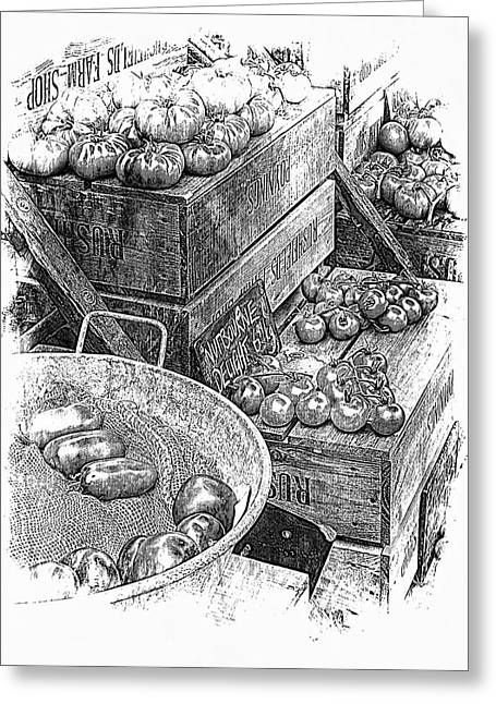 Rustic Display Of Tomatoes For Sale In Black And White Greeting Card