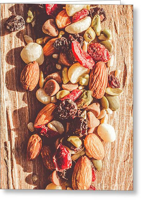 Rustic Dried Fruit And Nut Mix Greeting Card by Jorgo Photography - Wall Art Gallery