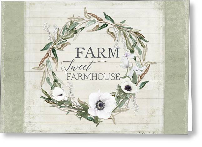 Rustic Farm Sweet Farmhouse Shiplap Wood Boho Eucalyptus Wreath N Anemone Floral Greeting Card