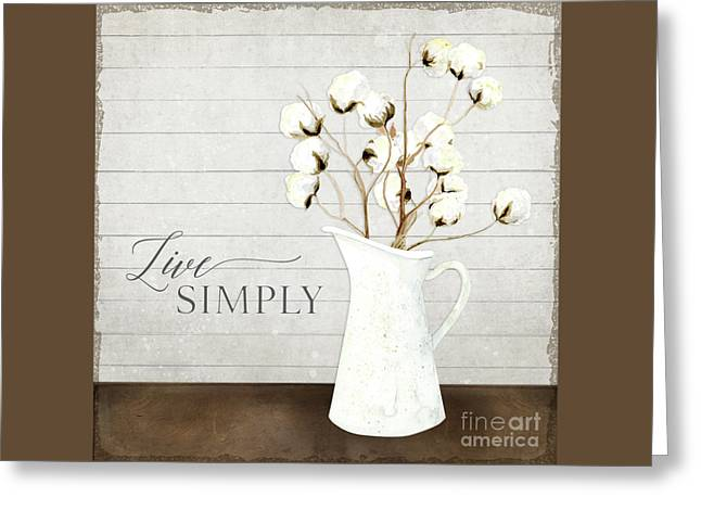 Rustic Farmhouse Cotton Boll Milk Pitcher Live Simply Greeting Card