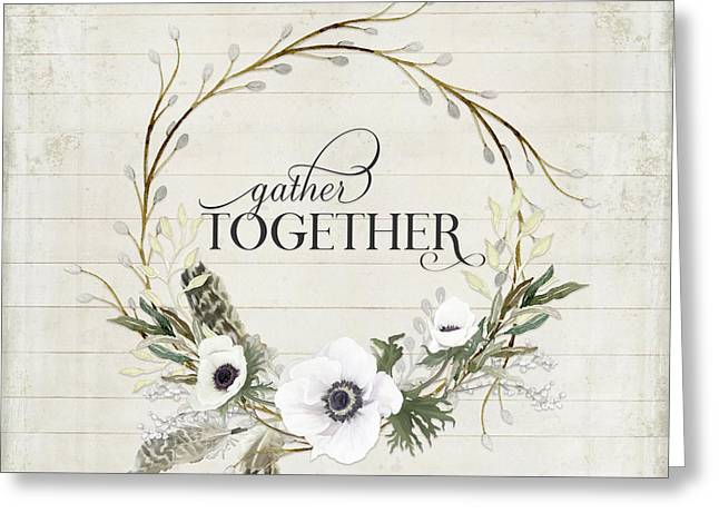 Rustic Farmhouse Gather Together Shiplap Wood Boho Feathers N Anemone Floral 2 Greeting Card