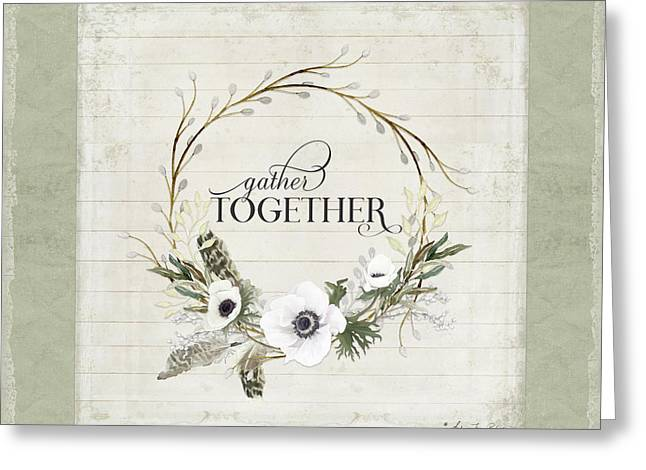 Rustic Farmhouse Gather Together Shiplap Wood Boho Feathers N Anemone Floral Greeting Card