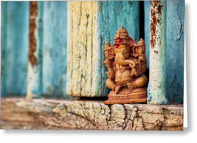 Rustic Ganesha Greeting Card by Tim Gainey