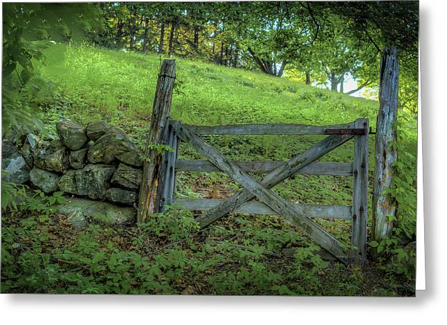 Rustic Gate Greeting Card by Rick Mosher