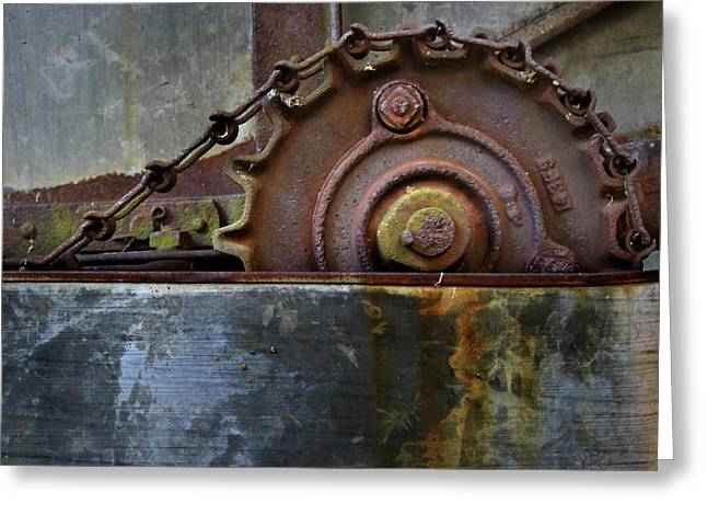 Greeting Card featuring the photograph Rustic Gear And Chain by David and Carol Kelly