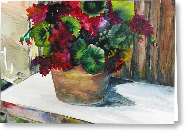 Rustic Geraniums Greeting Card by Arry Murphey