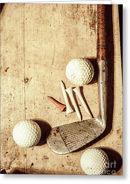 Rustic Golf Club Memorabilia Greeting Card by Jorgo Photography - Wall Art Gallery
