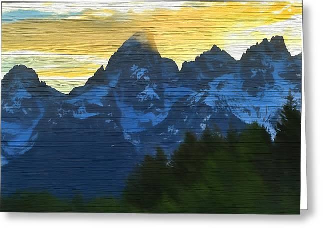 Rustic Grand Teton Sunset Greeting Card