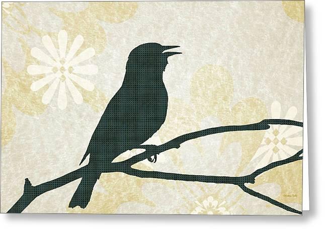 Rustic Green Bird Silhouette Greeting Card