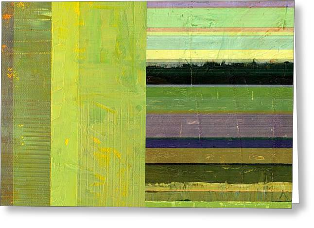 Greeting Card featuring the painting Rustic Green Flag With Stripes by Michelle Calkins