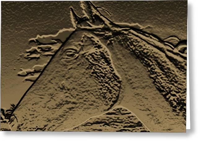 Rustic Horse Profile Greeting Card by Debra     Vatalaro