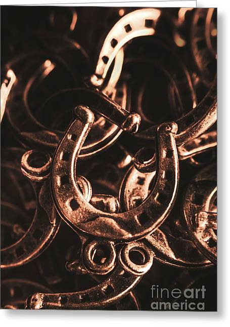 Rustic Horse Shoes Greeting Card by Jorgo Photography - Wall Art Gallery