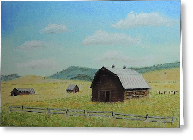 Rustic Montana Barn Greeting Card by Jayne Wilson
