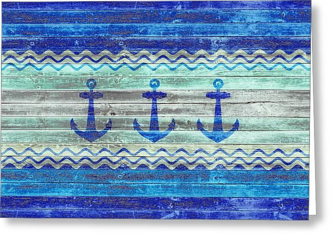 Rustic Navy Blue Coastal Decor Anchors Greeting Card