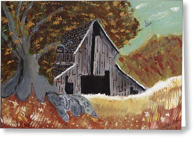 Greeting Card featuring the painting Rustic Old Barn by Swabby Soileau