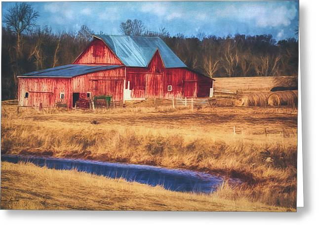 Rustic Red Barn Greeting Card